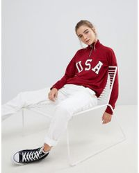 Daisy Street - Relaxed Sweatshirt With Half Zip And Usa Print - Lyst