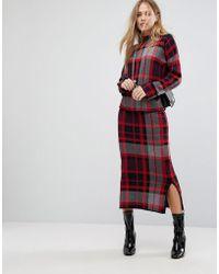 Warehouse Knitted Oversized Check Midi Skirt - Red
