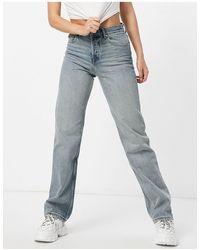 ASOS Jeans dritti anni '90 a vita medio alta lavaggio effetto vintage - Blu