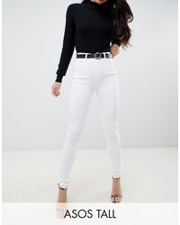 ASOS Asos Design Tall Ridley High Waisted Skinny Jeans - White