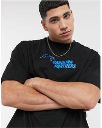 ASOS Nfl Carolina Oversized T-shirt With Front & Back Panthers Print - Black
