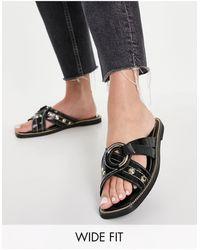 River Island Wide Fit Hardware Crossover Sandals - Black