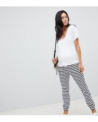 ASOS - Asos Design Maternity Skinny Joggers With Bump Band In Stripe - Lyst