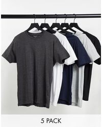 Brave Soul 5 Pack Crew Neck T-shirts - Multicolor