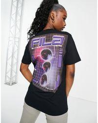 Fila Черная Oversize-футболка С Логотипом На Спине -черный Цвет