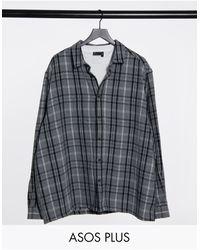ASOS Plus Wool Mix Overshirt - Black