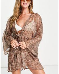 South Beach Пляжное Платье С Леопардовым Принтом -коричневый Цвет