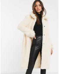 River Island Longline Faux Fur Coat - Natural