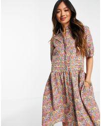Y.A.S Vestido camisero corto con falda voluminosa y - Multicolor