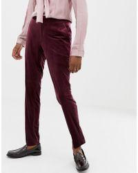 ASOS Skinny Suit Pants In Burgundy Velvet - Red
