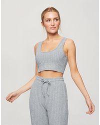 Miss Selfridge Cropped Pajama Set - Gray