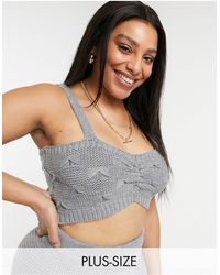Skylar Rose Plus Knitted Cami Crop Top Co-ord - Grey