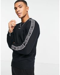 Hollister 90's Sport Tape Sleeve And Chest Logo Sweatshirt - Black