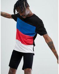 ASOS Ruimvallend Lang T-shirt Met Kleurvakken - Zwart