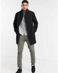 Jack & Jones Черное Шерстяное Пальто С Воротником-стойкой Essentials-черный Цвет