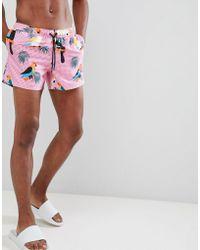 ASOS Swim Shorts With Toucan Print In Short Length - Orange