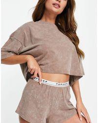 TOPSHOP Pijama color moca con lavado ácido y logo - Marrón