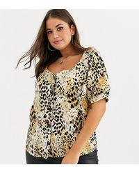 Simply Be Sweetheart Neckline Blouse In Animal Print - Multicolor
