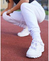 Fila Fast Charge - Baskets avec brides à logo et motif en strass - - Exclusivité ASOS - Blanc