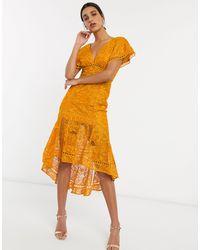 ASOS Flutter Sleeve Midi Dress - Orange