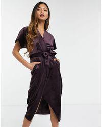 Closet Robe mi-longue à manches kimono en velours avec lien à la taille - Prune - Violet