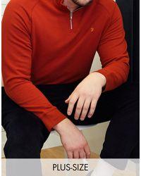 Farah - Sudadera roja con media cremallera y logo jim - Lyst