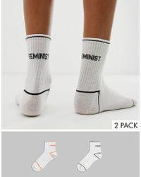 Monki 2-pack Slogan Socks In White