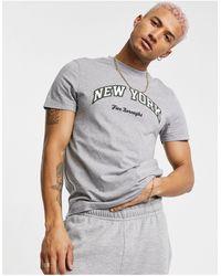 ASOS Camiseta gris jaspeada con estampado