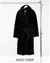 ASOS - Черное Пальто-тренч Из Искусственного Меха - Lyst