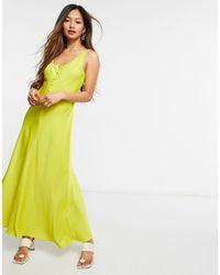 Whistles Pippa Satin Slip Dress - Yellow