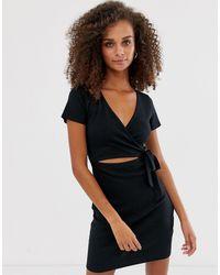 Abercrombie & Fitch Wrap Cutout Ribbed Mini Dress - Black