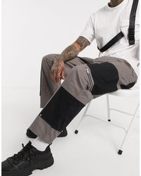 The Ragged Priest Two Tone Carpenter Utility Trousers - Grey