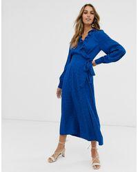& Other Stories Jacquard Midaxi-jurk Met Overslag In Felblauw