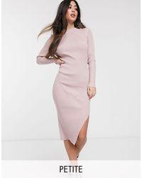 Missguided Розовое Платье Миди В Рубчик С Разрезом Сбоку -розовый
