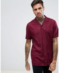 ASOS - Regular Fit Viscose Shirt With Revere Collar In Burgundy - Lyst