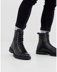 SELECTED Кожаные Походные Ботинки Черного Цвета На Шнуровке -черный