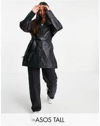 ASOS Tall 90's Mum Leather Jacket - Black