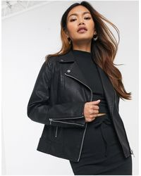 Miss Selfridge Faux Leather Jacket - Black