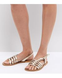 0125438a93 ASOS - Asos Flattered Leather Plaited T-bar Flat Sandals - Lyst