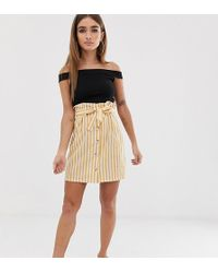 Boohoo Mini Skirt With Paperbag Waist In Yellow Stripe - Natural