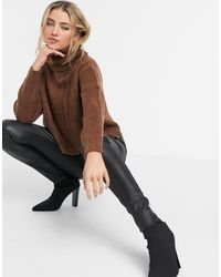 Stradivarius High-neck Cable Knit Sweater - Brown