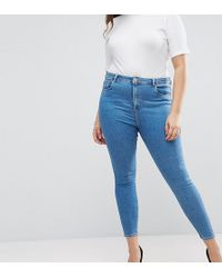 ASOS - Asos Design Curve Ridley High Waist Skinny Jeans In Lily Mid Wash Blue - Lyst