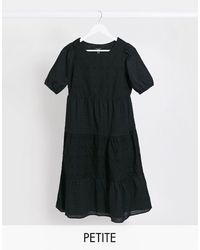 New Look Broderie Tiered Midaxi Dress - Black