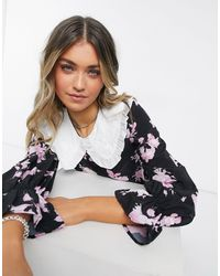 ASOS Floral Shirt With Contrast Ruffle Collar - Black