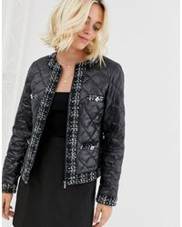 Morgan Quilted Jacket With Check Trim And Pocket Detail - Black