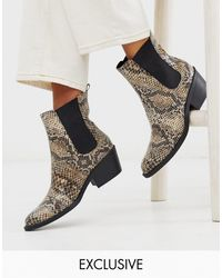 Monki Faux Leather Heeled Boots With Pointed Toe - Multicolor