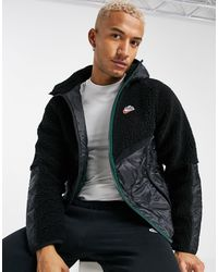 Nike Heritage Essentials Winter Fleece Panelled Zip-through Hooded Jacket - Black