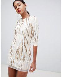 TFNC London Swirl Patterned Sequin Bodycon Mini Dress In Multi - Natural