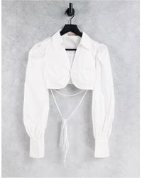 Skylar Rose Ultra Cropped Shirt With Puff Sleeves And Wrap Waist - White