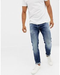 Jack & Jones - Jeans In Tapered Fit Washed Blue Denim - Lyst